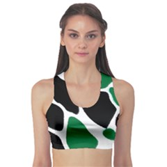 Green Black Digital Pattern Art Sports Bra