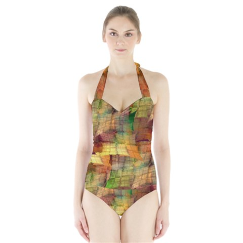 Indian Summer Funny Check Halter Swimsuit