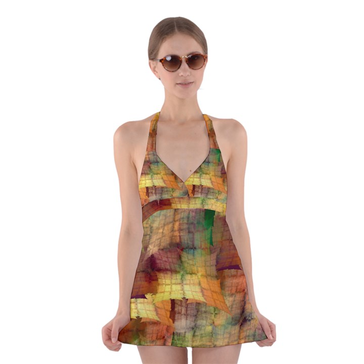 Indian Summer Funny Check Halter Swimsuit Dress