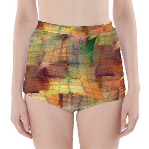 Indian Summer Funny Check High-Waisted Bikini Bottoms