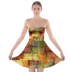 Indian Summer Funny Check Strapless Bra Top Dress