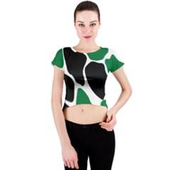 Green Black Digital Pattern Art Crew Neck Crop Top