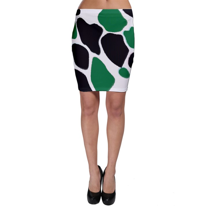 Green Black Digital Pattern Art Bodycon Skirt