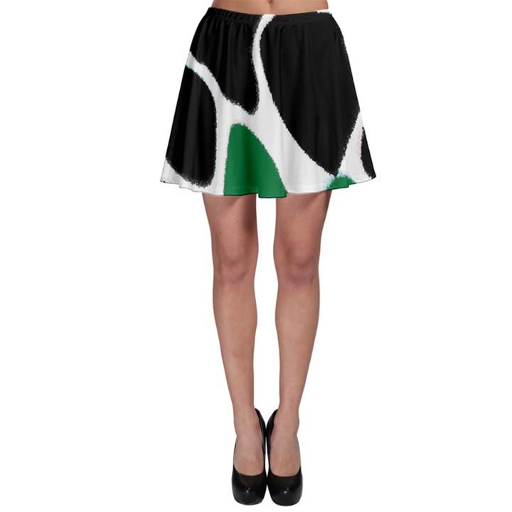 Green Black Digital Pattern Art Skater Skirt