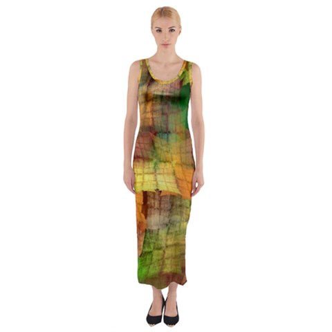 Indian Summer Funny Check Fitted Maxi Dress