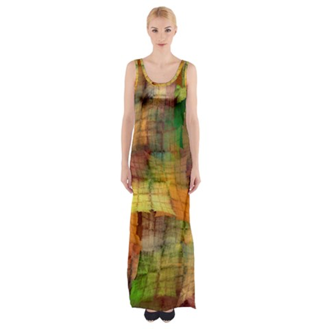 Indian Summer Funny Check Maxi Thigh Split Dress