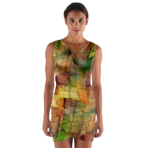Indian Summer Funny Check Wrap Front Bodycon Dress