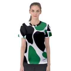 Green Black Digital Pattern Art Women s Sport Mesh Tee