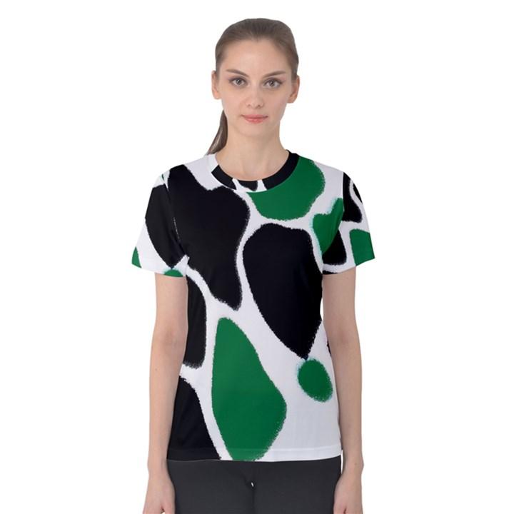 Green Black Digital Pattern Art Women s Cotton Tee