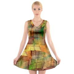 Indian Summer Funny Check V Neck Sleeveless Skater Dress