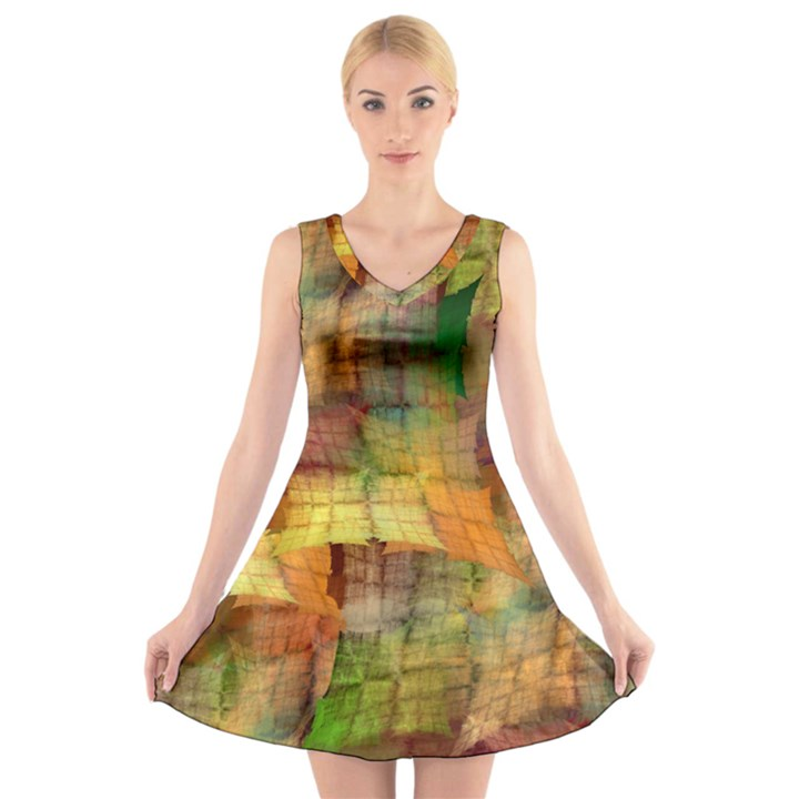 Indian Summer Funny Check V-Neck Sleeveless Skater Dress