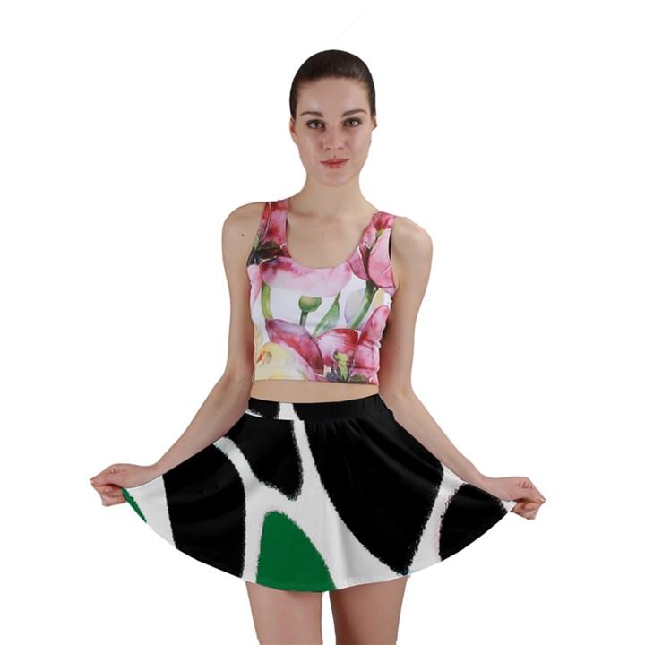 Green Black Digital Pattern Art Mini Skirt