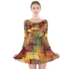 Indian Summer Funny Check Long Sleeve Velvet Skater Dress