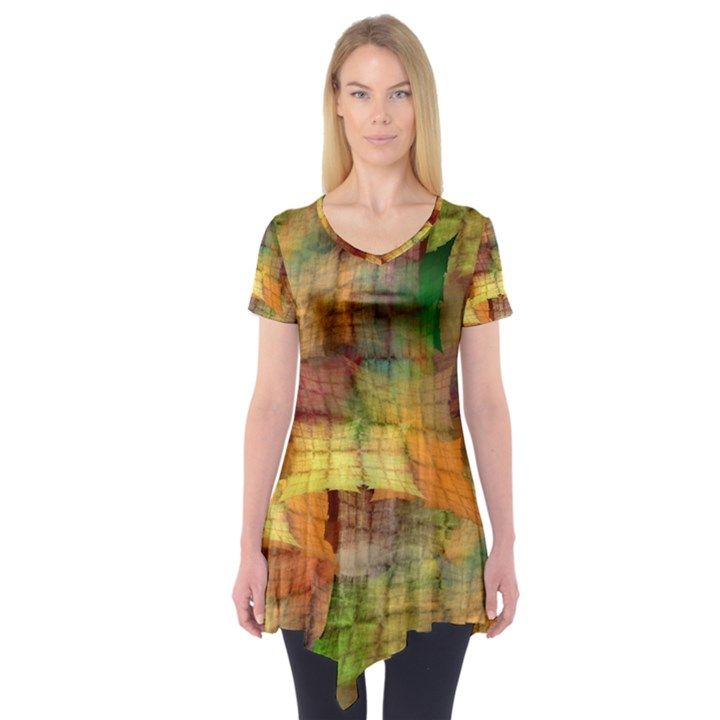 Indian Summer Funny Check Short Sleeve Tunic