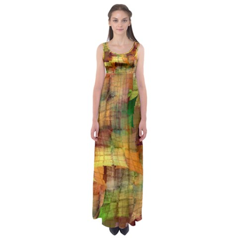 Indian Summer Funny Check Empire Waist Maxi Dress