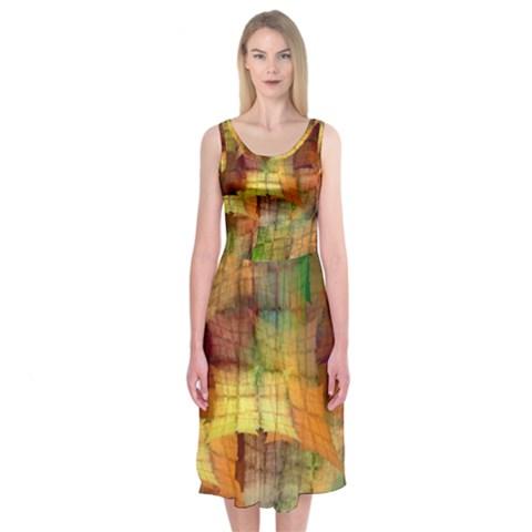 Indian Summer Funny Check Midi Sleeveless Dress
