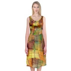 Indian Summer Funny Check Midi Sleeveless Dress