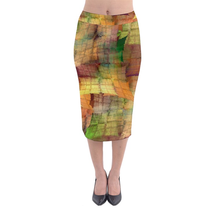 Indian Summer Funny Check Midi Pencil Skirt