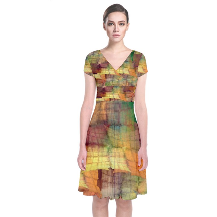 Indian Summer Funny Check Short Sleeve Front Wrap Dress