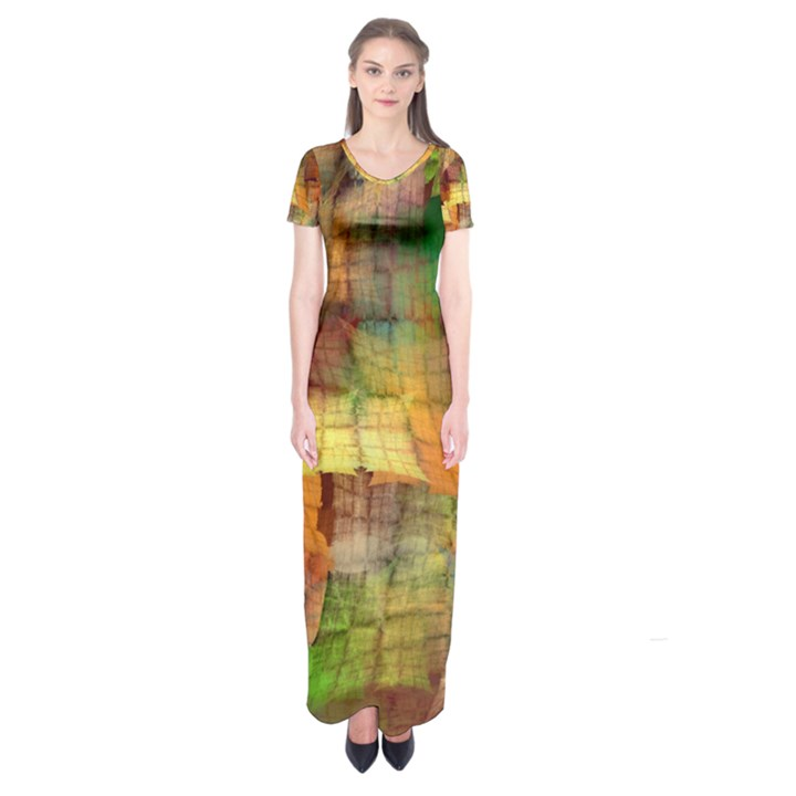Indian Summer Funny Check Short Sleeve Maxi Dress