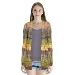 Indian Summer Funny Check Drape Collar Cardigan