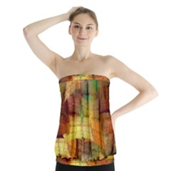 Indian Summer Funny Check Strapless Top