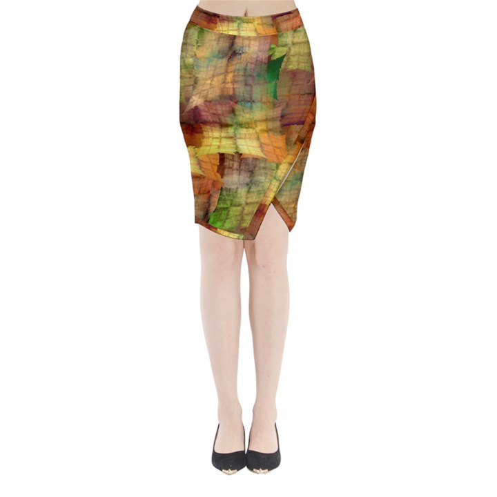 Indian Summer Funny Check Midi Wrap Pencil Skirt