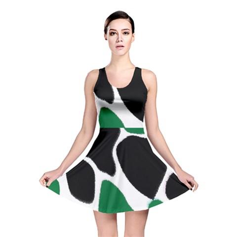 Green Black Digital Pattern Art Reversible Skater Dress