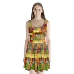 Indian Summer Funny Check Split Back Mini Dress