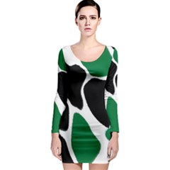 Green Black Digital Pattern Art Long Sleeve Bodycon Dress