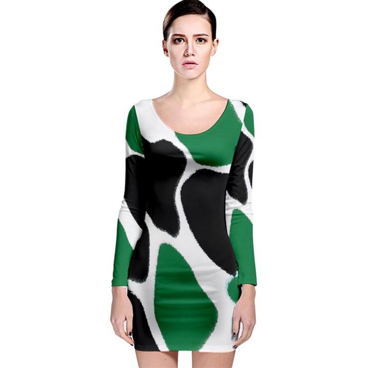 Green Black Digital Pattern Art Long Sleeve Bodycon Dress