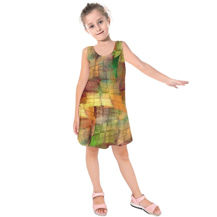 Indian Summer Funny Check Kids  Sleeveless Dress