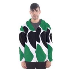 Green Black Digital Pattern Art Hooded Wind Breaker (Men)