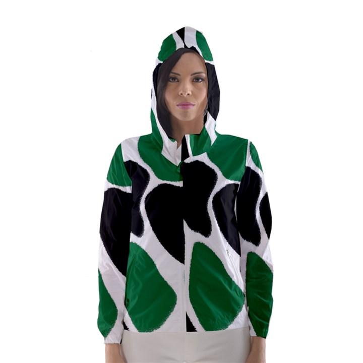 Green Black Digital Pattern Art Hooded Wind Breaker (Women)