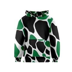 Green Black Digital Pattern Art Kids  Pullover Hoodie