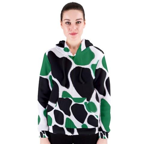 Green Black Digital Pattern Art Women s Zipper Hoodie