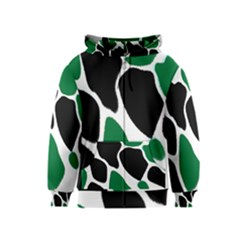 Green Black Digital Pattern Art Kids  Zipper Hoodie