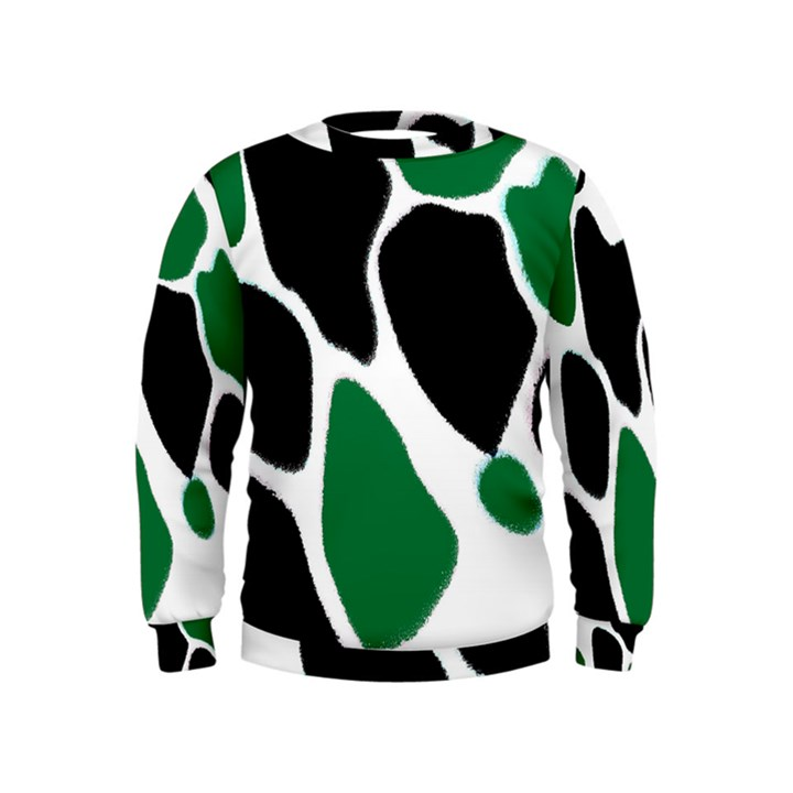 Green Black Digital Pattern Art Kids  Sweatshirt