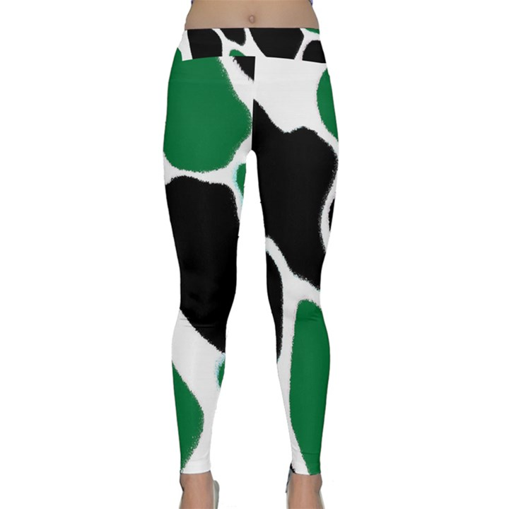 Green Black Digital Pattern Art Yoga Leggings
