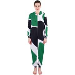 Green Black Digital Pattern Art Hooded Jumpsuit (Ladies)