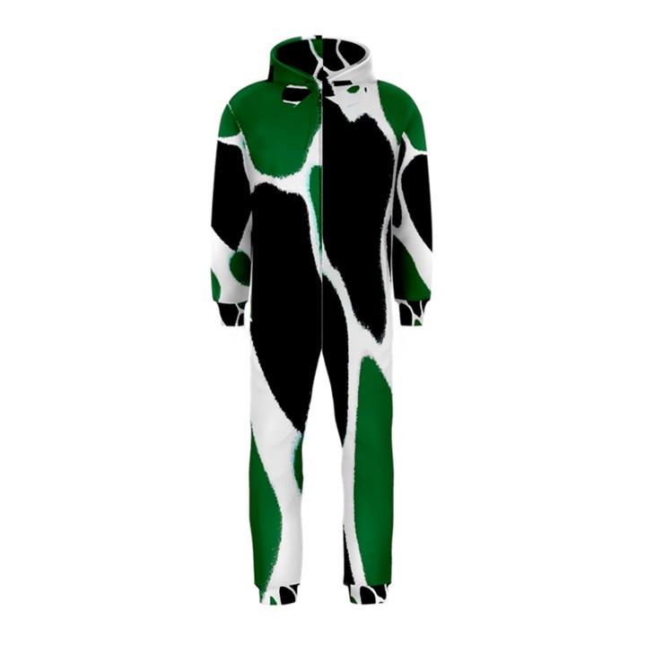 Green Black Digital Pattern Art Hooded Jumpsuit (Kids)