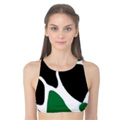 Green Black Digital Pattern Art Tank Bikini Top