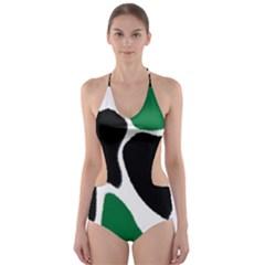 Green Black Digital Pattern Art Cut-Out One Piece Swimsuit