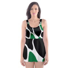 Green Black Digital Pattern Art Skater Dress Swimsuit