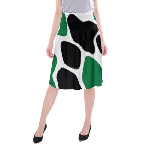 Green Black Digital Pattern Art Midi Beach Skirt