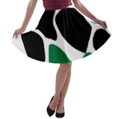Green Black Digital Pattern Art A-line Skater Skirt