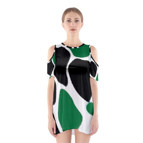 Green Black Digital Pattern Art Cutout Shoulder Dress