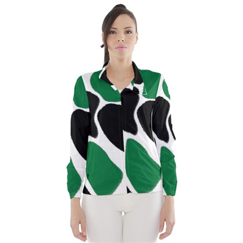 Green Black Digital Pattern Art Wind Breaker (Women)