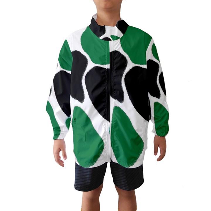 Green Black Digital Pattern Art Wind Breaker (Kids)