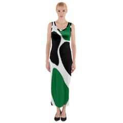 Green Black Digital Pattern Art Fitted Maxi Dress